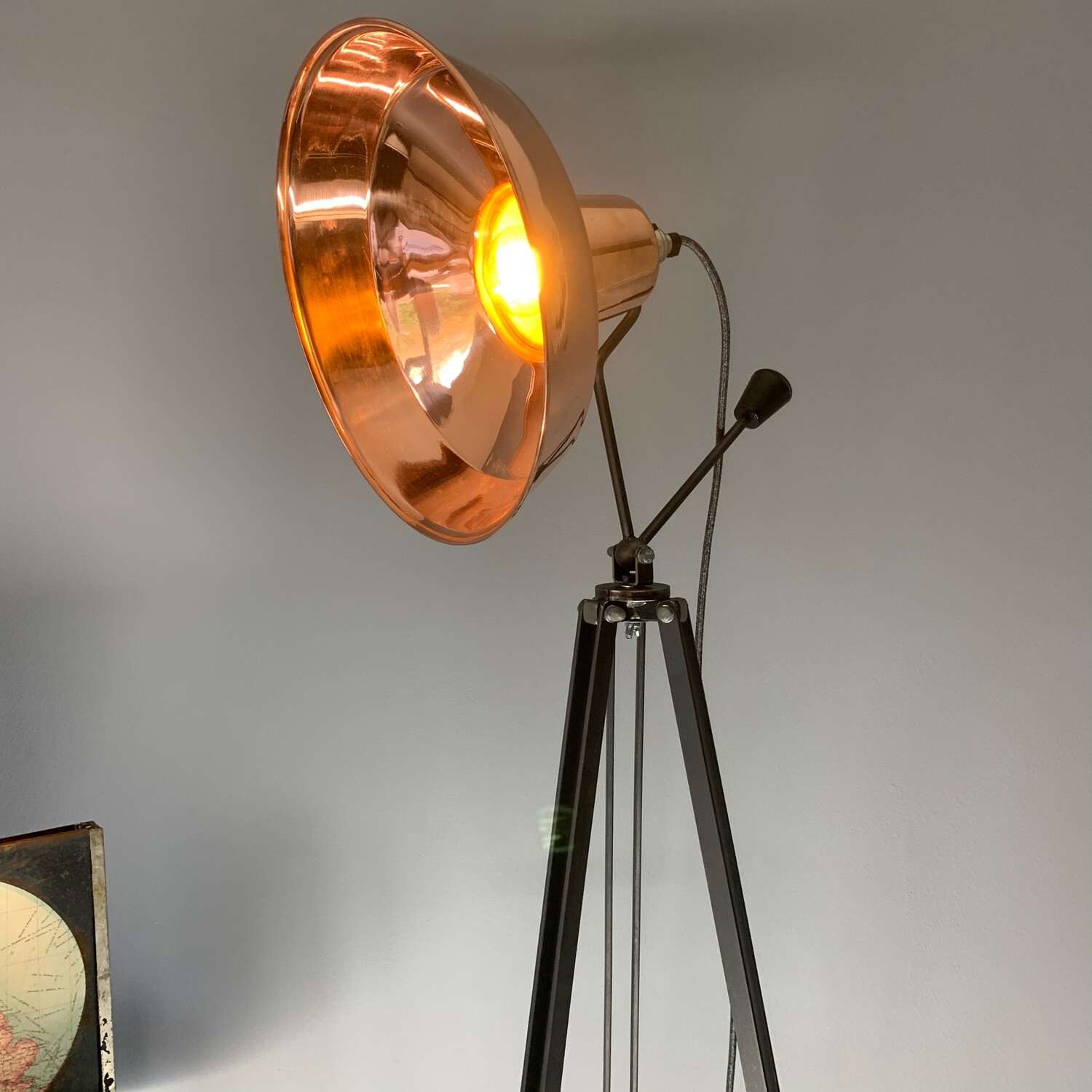 Copper Shade On Steel Pan/tilt Neck And Tripod