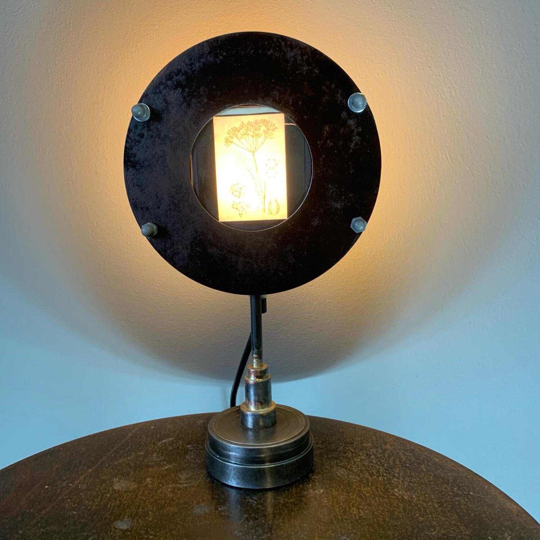 Antique Magic Lantern Slide Set In Bespoke Lamp Base