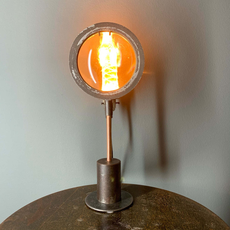 Vintage Theatre Lamp Lens On Industrial Base