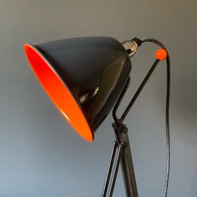Neon Orange/Grey Industrial Desk Lamp