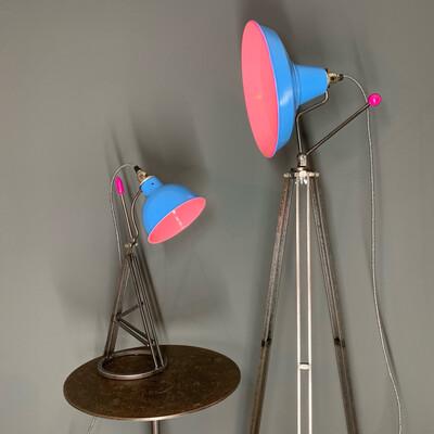 Bubble Gum Pink/Baby Blue Pan And Tilt Tripod Lamp