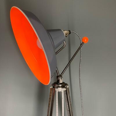 Grey/Neon Orange Tripod Lamp