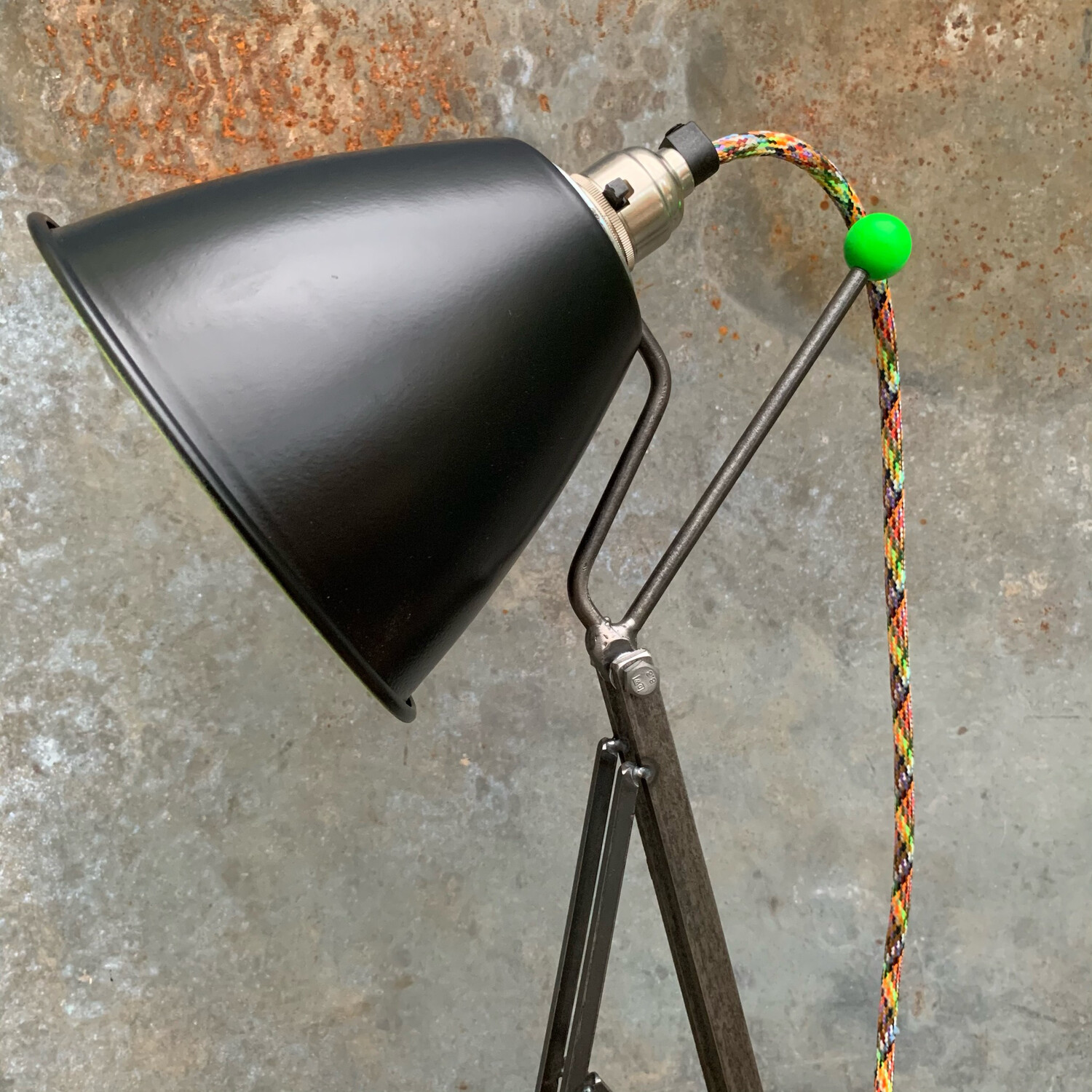 Neon Green And Black Industrial Desk Lamp
