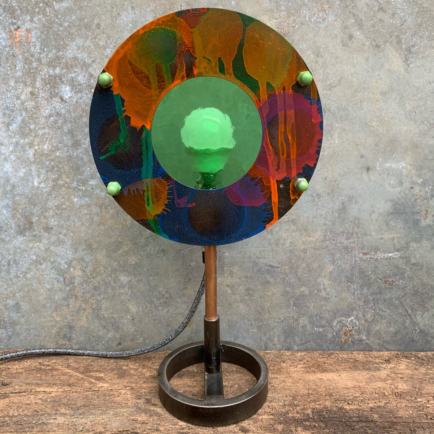 Green Stained Glass Disc Lamp 1