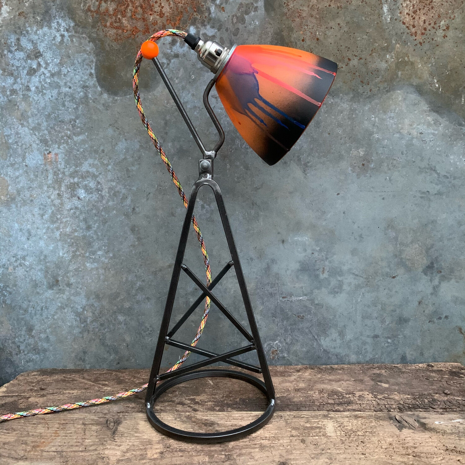Colour Pop Industrial Desk Lamp With Multi Colour Glass Shade