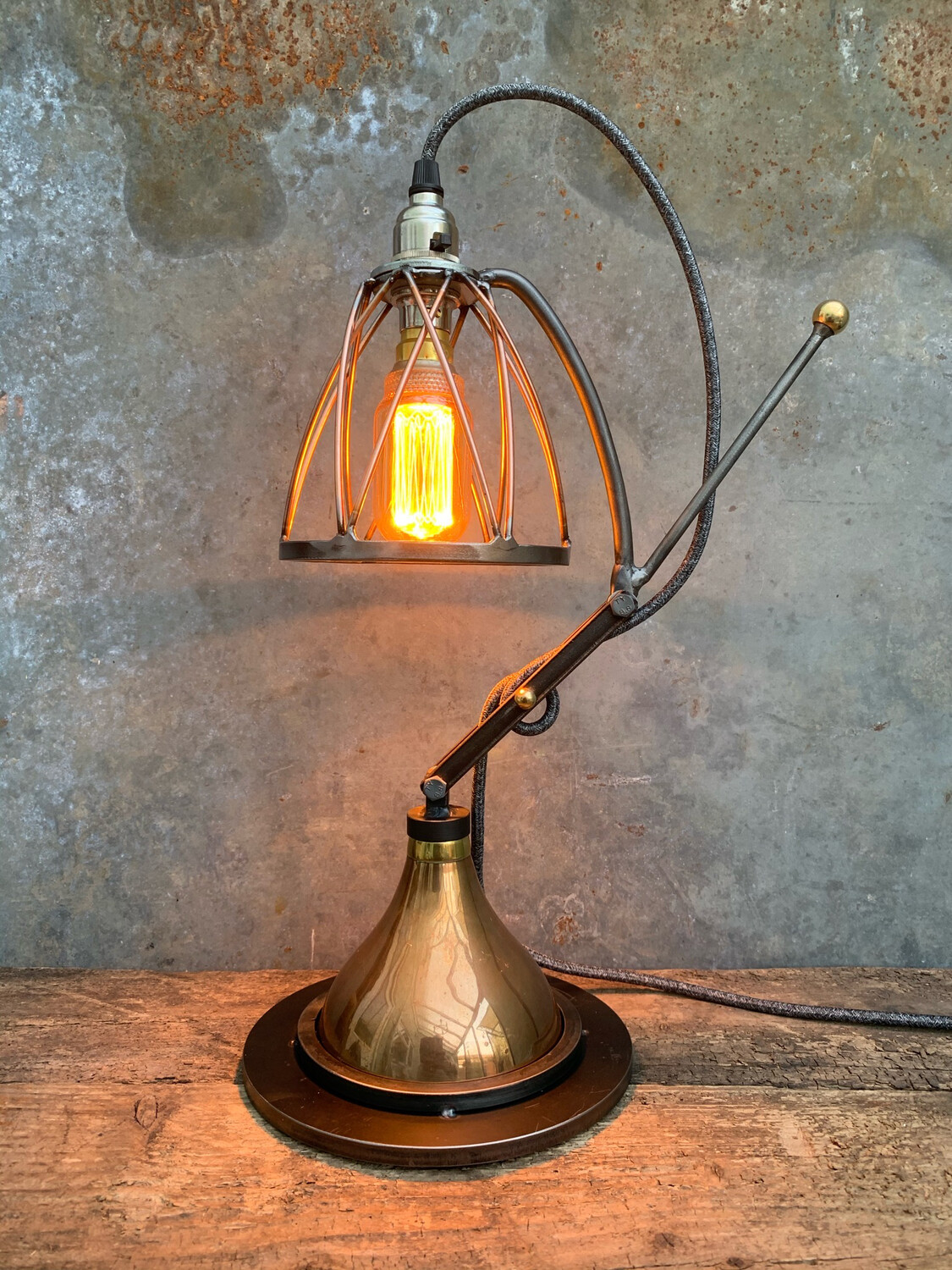 Copper And Steel Industrial Desk-Side Lamp