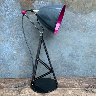 Industrial Desk/Table Lamp Grey And Hot Pink