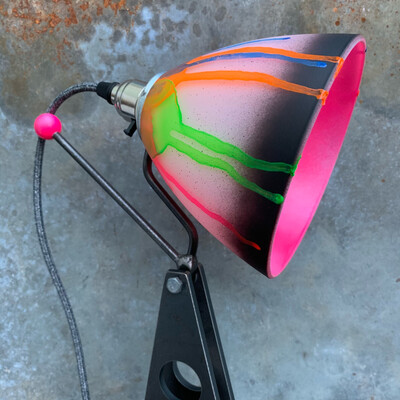 Industrial Desk Lamp With Neon Coloured Glass Shade
