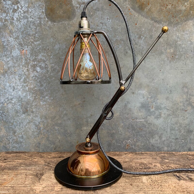Industrial Copper And Steel Desk Lamp