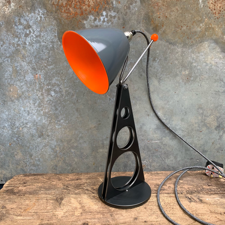 Colour Pop Industrial Desk Lamp Grey/Orange