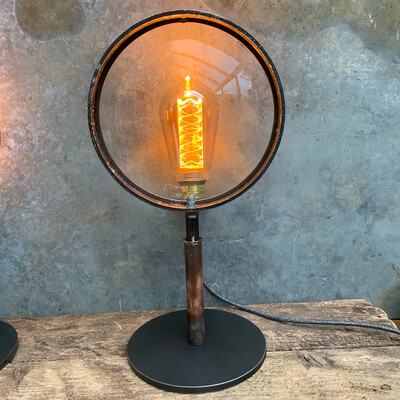 Large Theatre Lamp Lens On Bespoke Stand