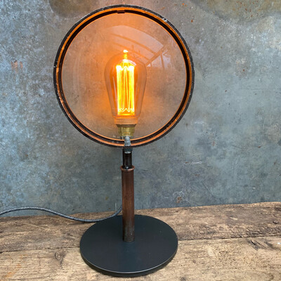 Large Vintage Theatre Lamp Lens On Bespoke Stand