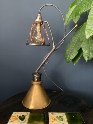 Steel/Copper Industrial Desk Lamp With Reclaimed Brass Base