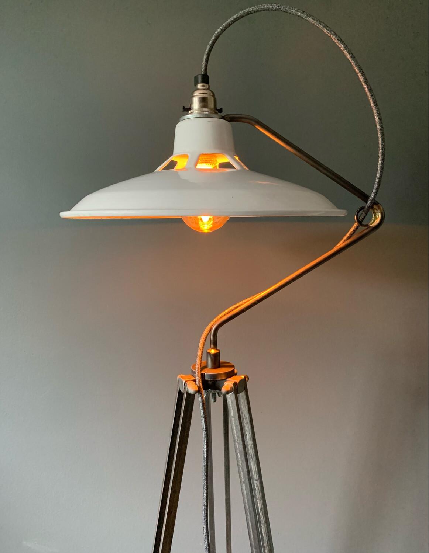 Industrial Enamel Swan Neck Floor Lamp