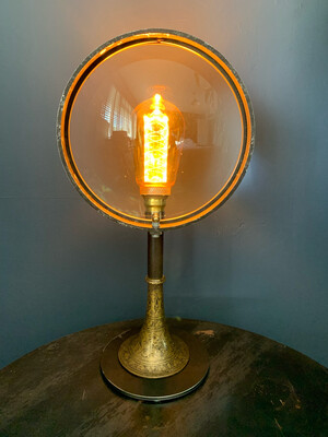 Vintage Theatre Lamp Lens On Bespoke Steel And Brass Stand