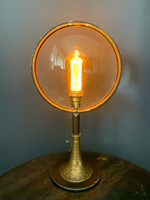 Large Vintage Theatre Lamp Lens On Steel And Brass Stand