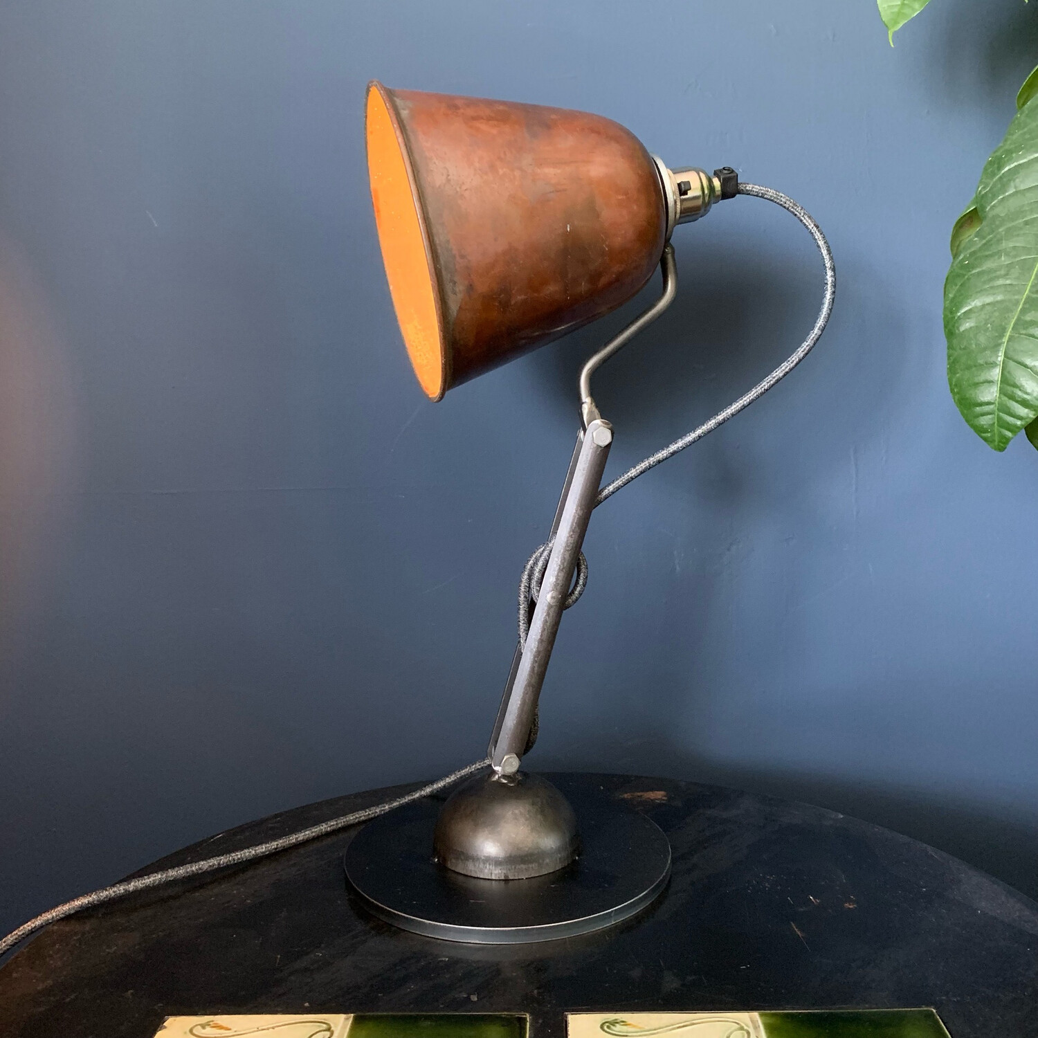 Articulated Industrial Lamp With Vintage Copper Shade