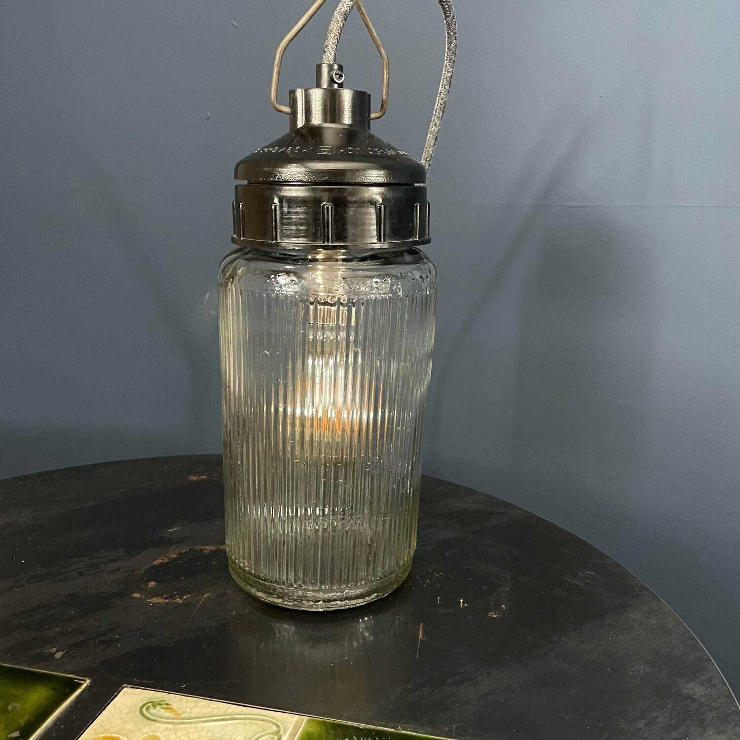 Industrial Ribbed Glass Lamp