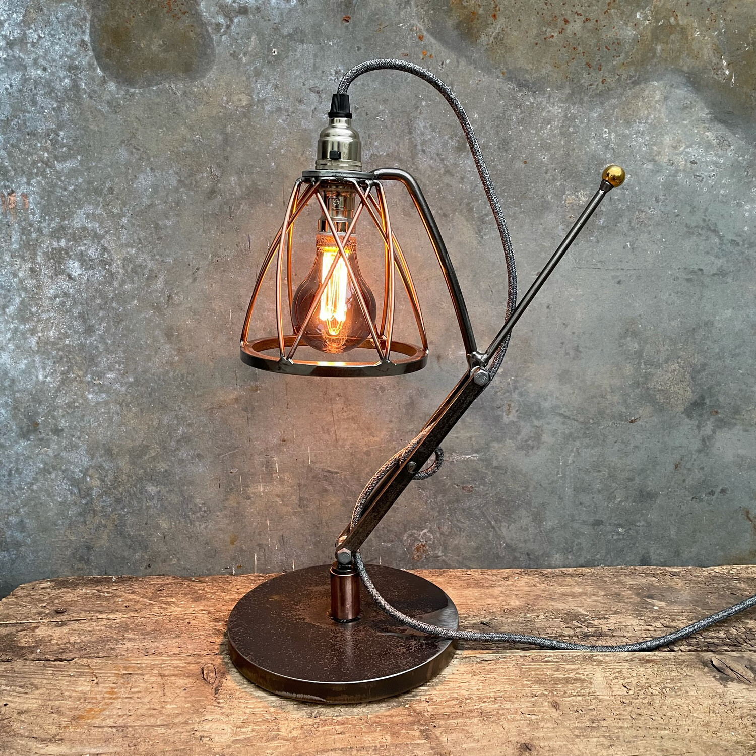 Industrial Copper & Steel Desk Lamp With Cage Shade