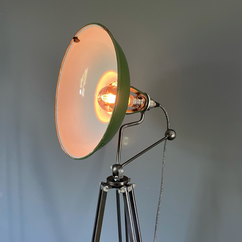 Vintage Enamel Coolicon Tripod Lamp
