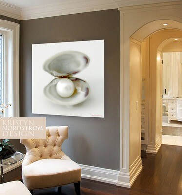 30x30 pearl clam fine stretched on wood print