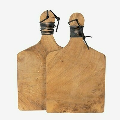 SERVING BOARD WITH LEATHER, SET OF 2