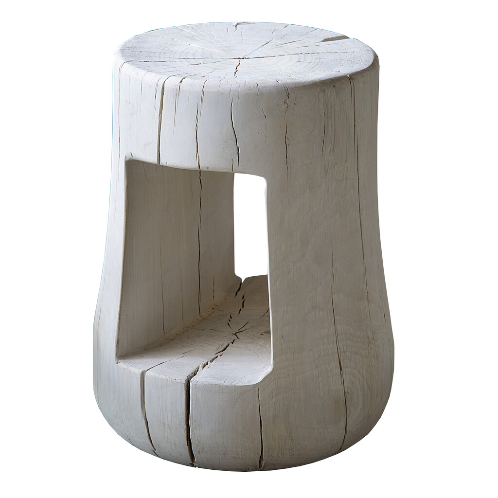 BLEACHED WOOD STOOL