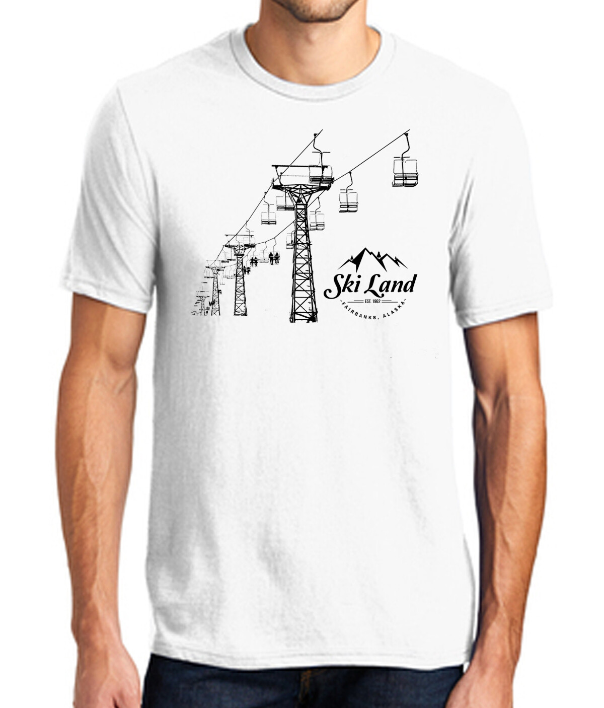 Ski Land Chairlift Silhouette T-Shirt