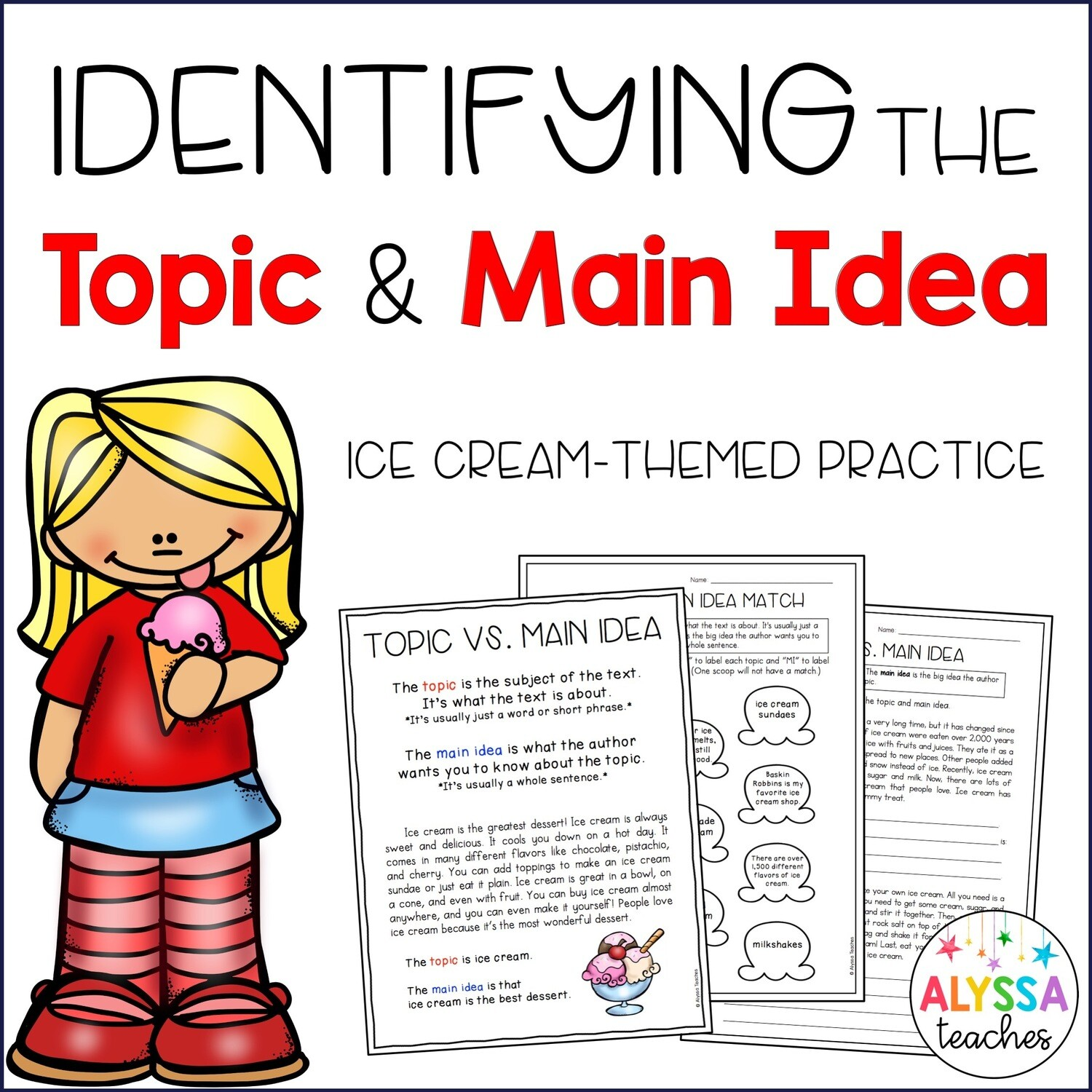 Topic and Main Idea Worksheets