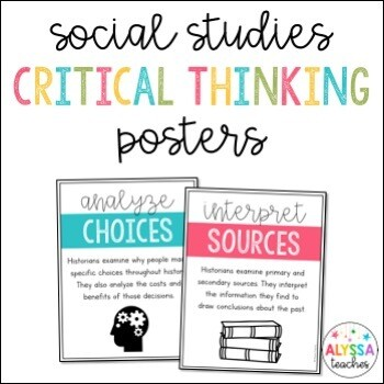 Social Studies Critical Thinking Posters
