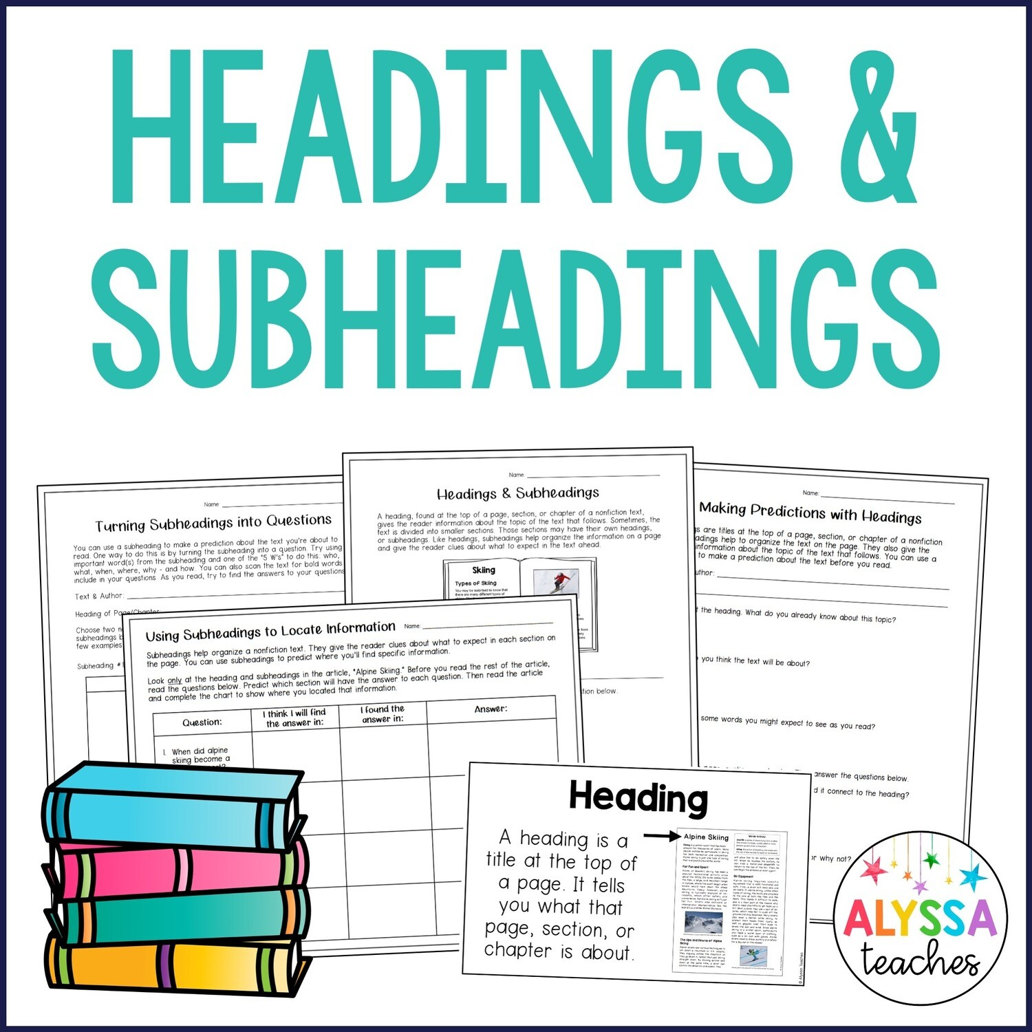 Headings and Subheadings Activities