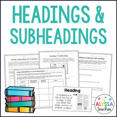 Headings and Subheadings Activities