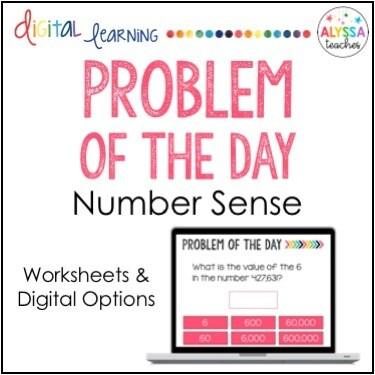 Math Problem of the Day: Number Sense (Digital & Worksheets)