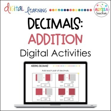 Digital Adding Decimals Activities