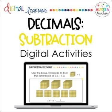 Digital Subtracting Decimals Activities