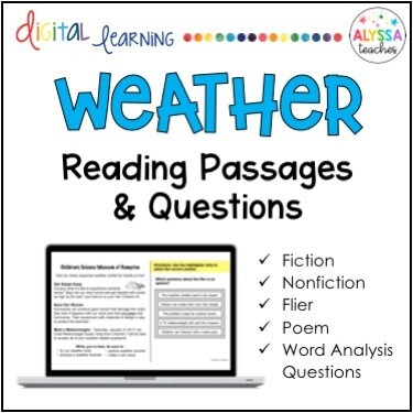 Weather-themed Reading Passages (Digital & Print)