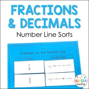 Fractions and Decimals on the Number Line Sorting Activities