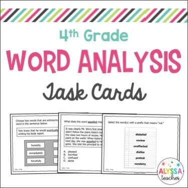 4th Grade Word Analysis Task Cards (Digital & Print)