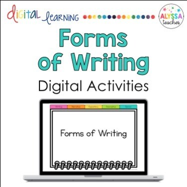 Forms of Writing Digital Activities | Narrative, Expository, Opinion, Descriptive