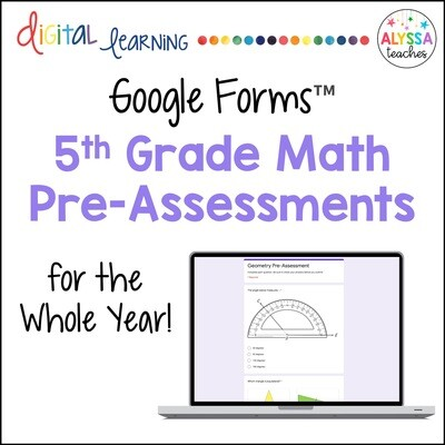 5th Grade Math SOL Pre-Assessments in Google Forms™
