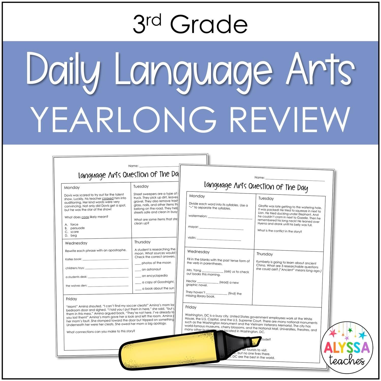 3rd Grade Daily Language Arts Review Worksheets