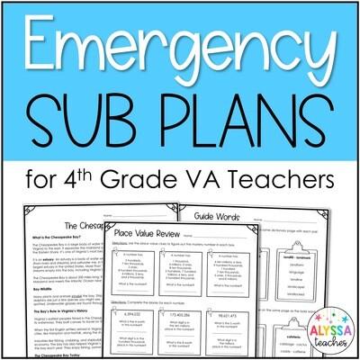 4th Grade Emergency Substitute Plans for Virginia Teachers