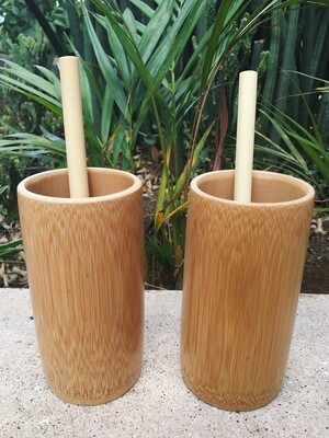 2 pack Bamboo Cups and Bamboo Straws