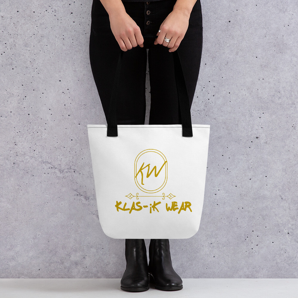 White And Gold Klas-ik Wear Tote bag