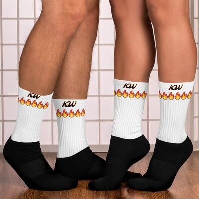 White KW Tube Black Bottom Socks