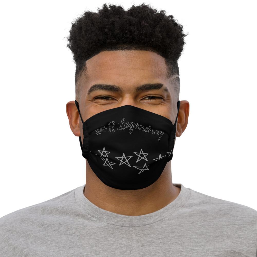 Black Starred We R Legendary Premium face mask