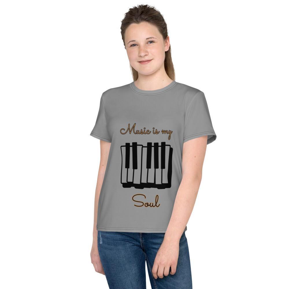 Gray Youth Slogan T-Shirt