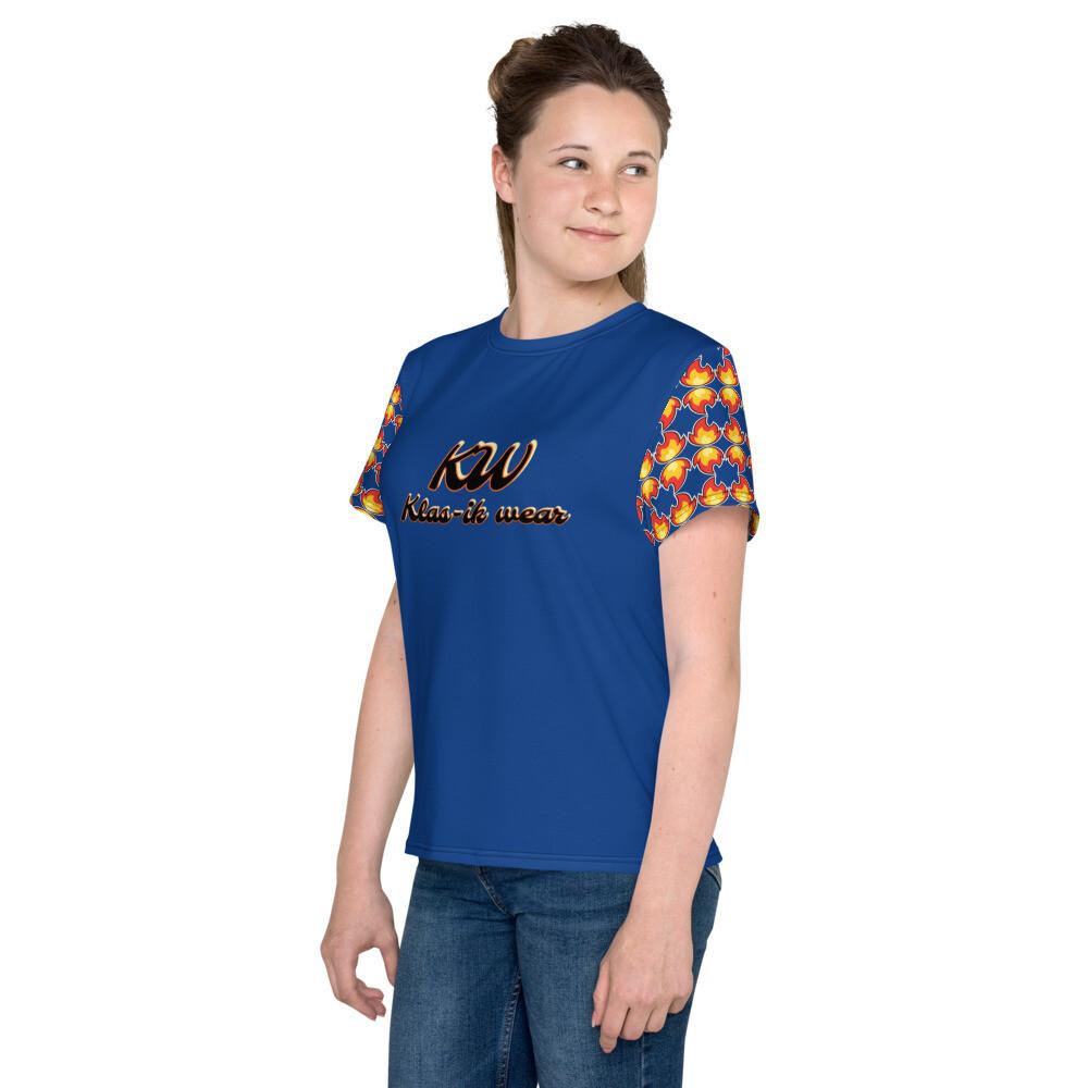 Royal Blue New Flame Klas-ik Wear Youth T-Shirt