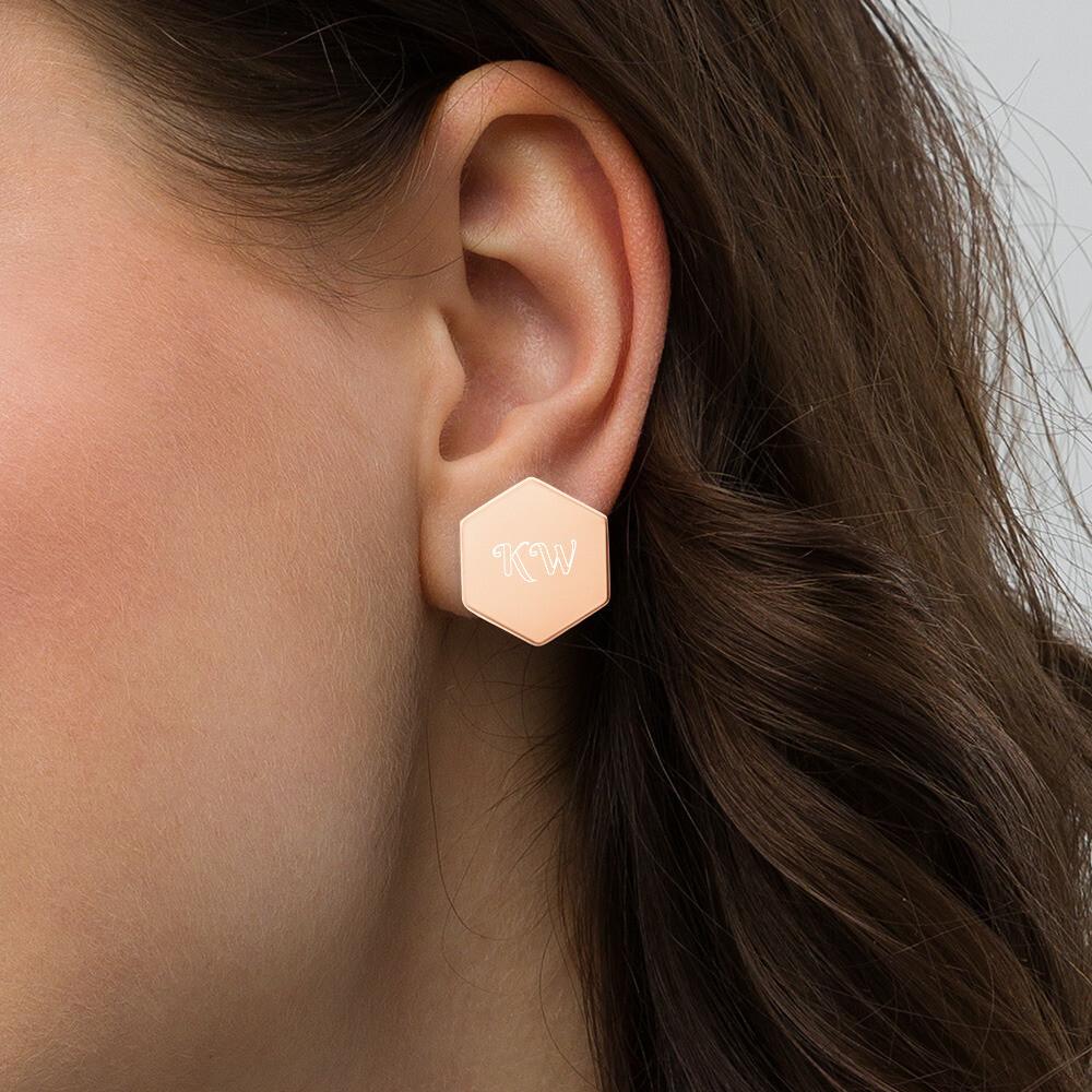 Sterling Silver Hexagon KW Engraved Stud Earrings