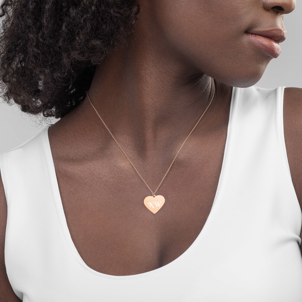 KW Engraved Silver Heart Necklace